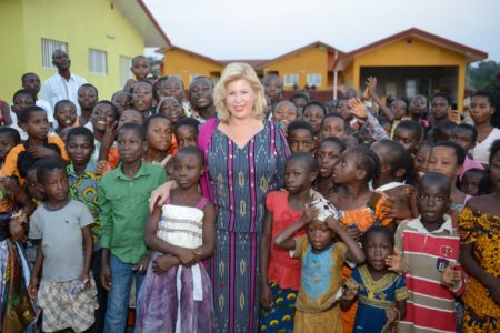 Mrs. Dominique Ouattara offered CFA 2 million to the children of SOS village