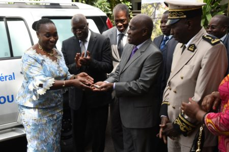 FIRST LADY DOMINIQUE OUATTARA DONATES A MEDICAL AMBULANCE TO TIEBISSOU GENERAL HOSPITAL