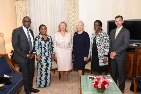 First Lady Dominique Ouattara exchanged with the wife of Senator John McCain and Miche Sidibé