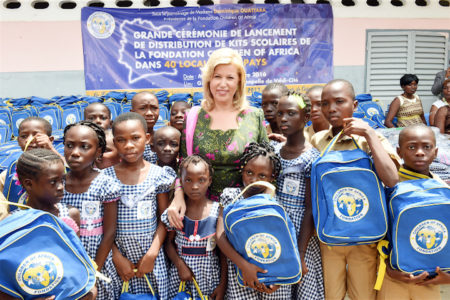 Dominique Ouattara has offered 12,000 school kits to the schools of 40 localities across the Country
