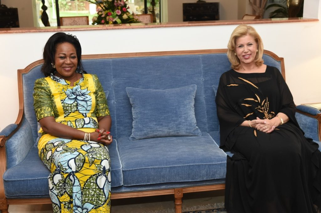 The First Lady of the Congo-Brazzaville and Djamel Debbouze alongside Dominique Ouattara