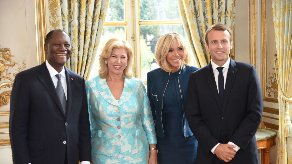 Brigitte Macron Receives Dominique Ouattara at l'Elysée
