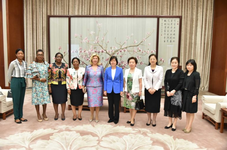 First Lady Dominique Ouattara met the China Women's Federation